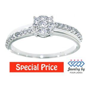 Real Diamond Fancy Bridal Ring Jewelry White Gold